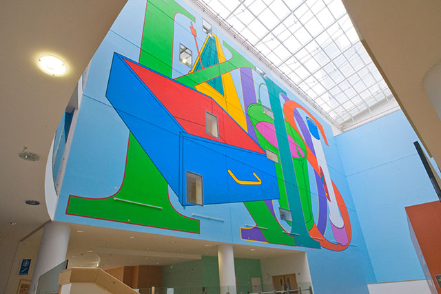 Giant wall painting in Children's Hospital atrium