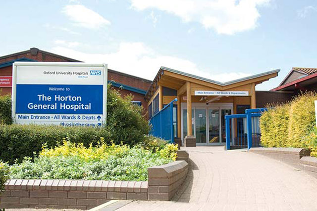The front entrance of the Horton General Hospital