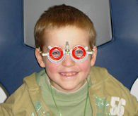 A child wearing special glasses