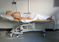 Resuscitation mannequin lying on a trolley