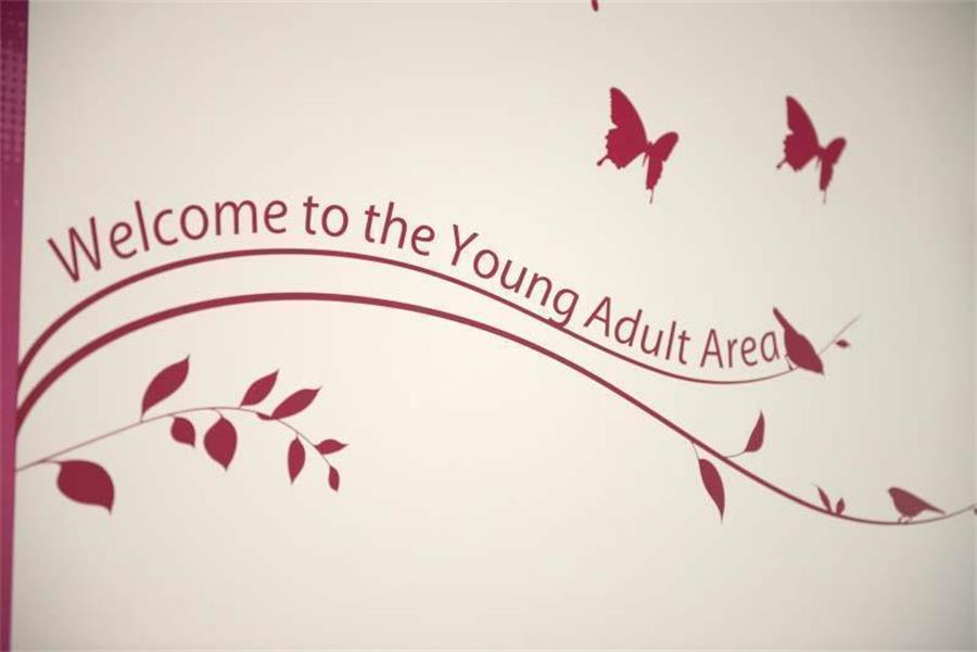 """Welcome to the Young Adult Area"" wall art"