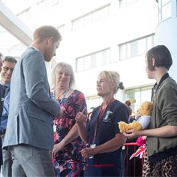 Photos from the Duke of Sussex's visit to the Oxford Children's