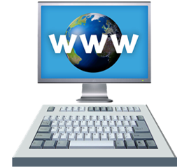 Computer screen displays 'www'