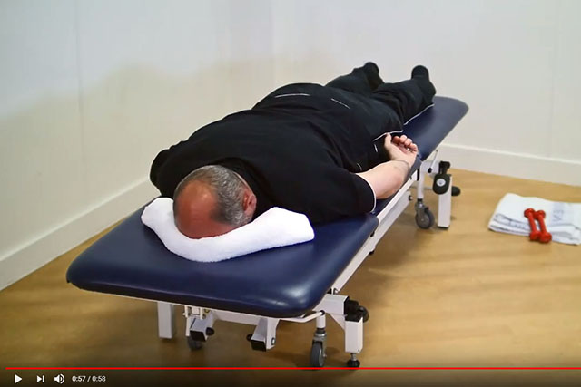 Shoulder blade and rotator cuff exercise lying down 1 video